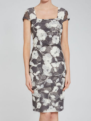 Gina Bacconi Black Floral Printed Dress