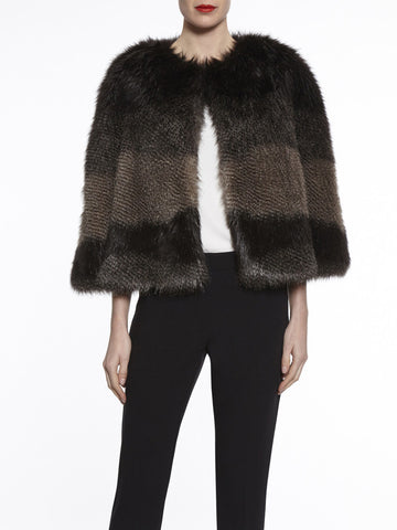 Gina Bacconi Multi Subtle Stripe Faux Fur Cape