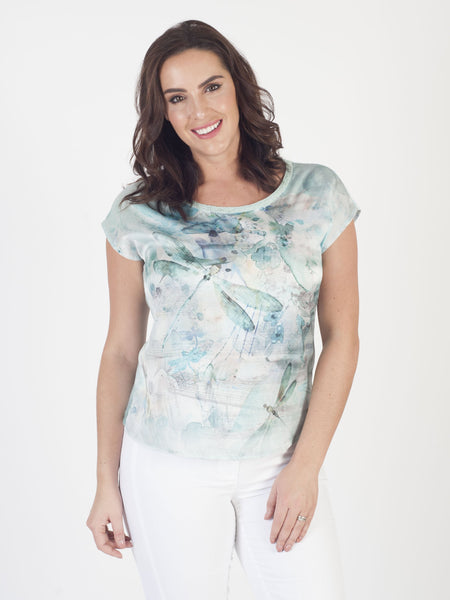 Taifun Aqua/Mint Dragonfly Print Top