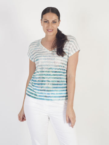 Taifun Aqua/Mint Stripe Print Top