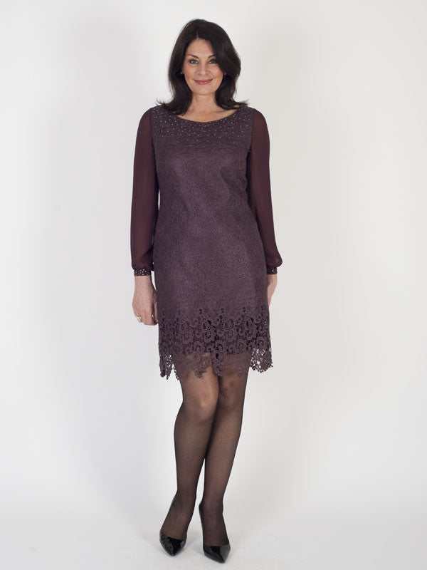Vera Mont Pressed Lace and Chiffon Dress