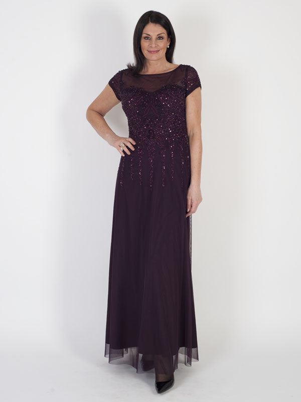 Vera Mont Long Mesh and Sequin Dress