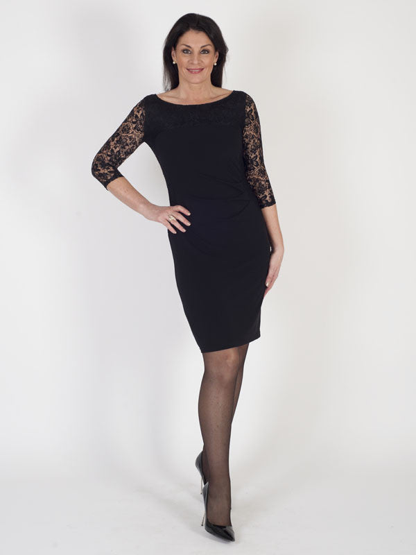 Chesca Direct Vera Mont Black Jersey and Lace Dress