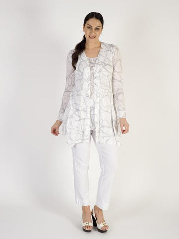 Vetono White/Grey Printed Linen Knit Jacket