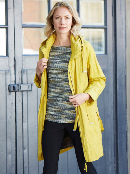 Vetono Limey Yellow   Raincoat, lined with Grey Fleece
