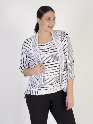 Vetono White/Black Textured Jersey Jacket