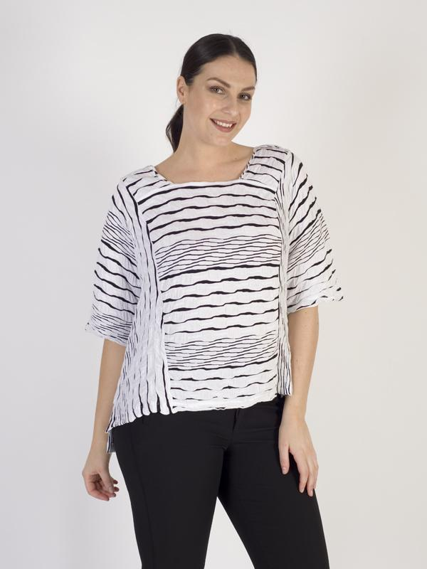 Vetono White/Black Textured Jersey Top