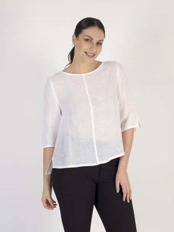 Vetono White Woven Loose Top with Back Button Detail