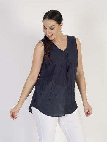 Vetono Navy Sleeveless Woven Top