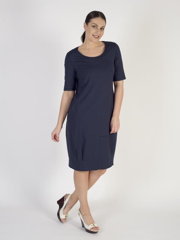 Vetono Navy Plain Jersey Dress