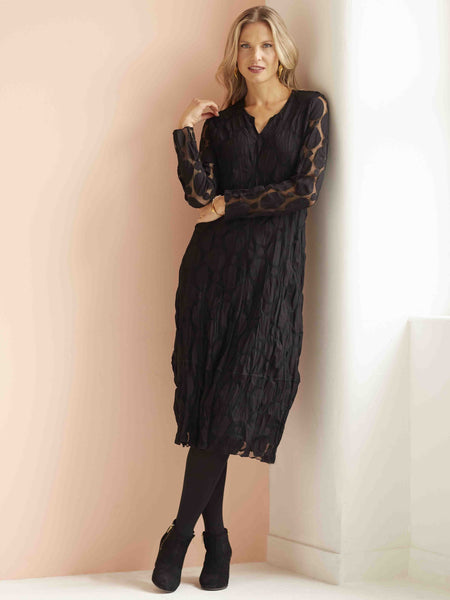 VETONO Black Circle Mesh Dress