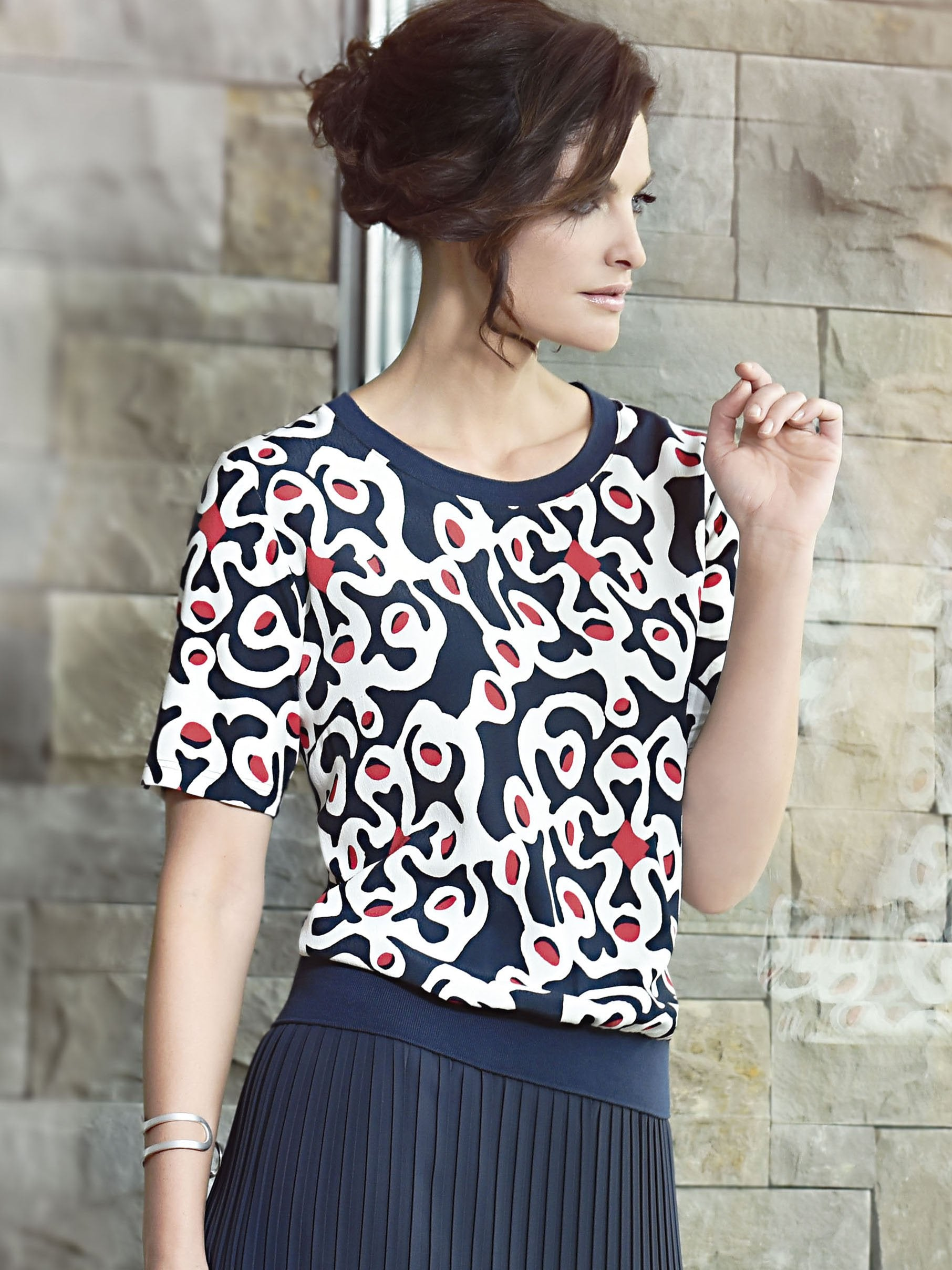 Frank Walder Navy/White/Red Printed Short Sleeve Top