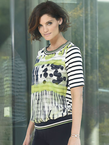 Frank Walder Navy/ivory/Lime Short Sleeve Stripe and Print Jersey Top