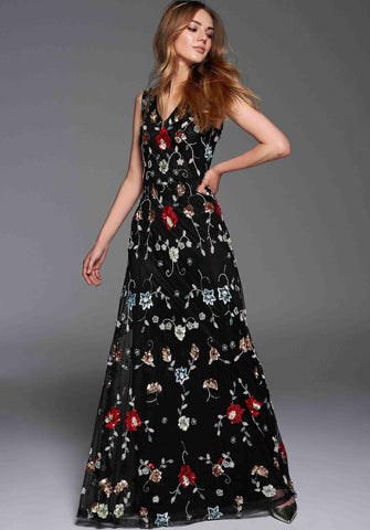 Gina Bacconi Black Lucy Beaded Maxi Dress