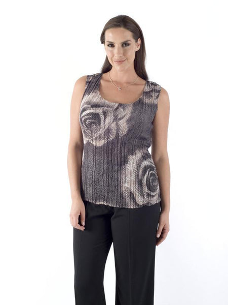 Grey Rose Print Crush Pleat Camisole