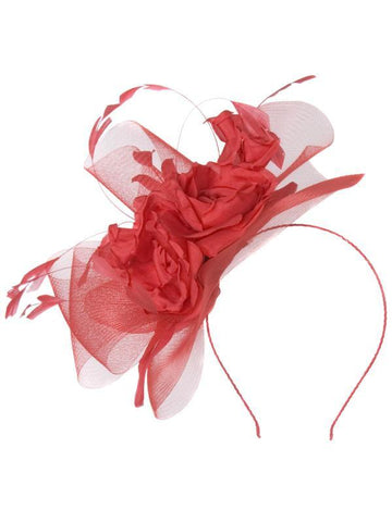 Red/Coral Rose Feathers Fascinator
