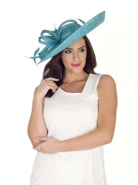 Dark Turquoise Large Bow and Feather Detail Hatinator
