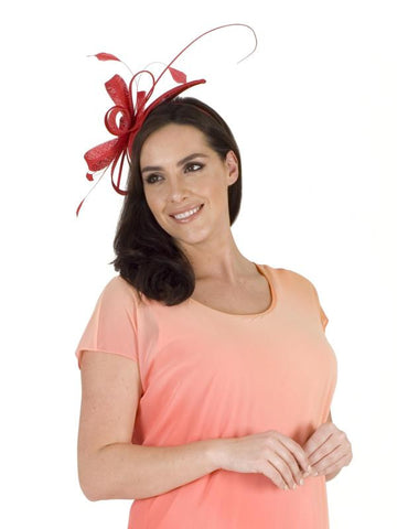 Red Sinamay Teardrop Fascinator
