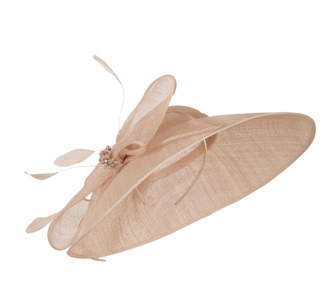 Pale Pink Large Bow Diamante and Pearl Trim Hat