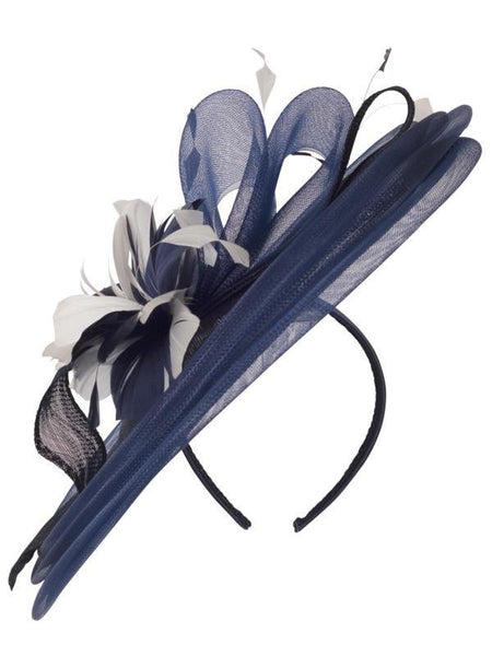 Navy/Ivory Flower Feather Hatinator