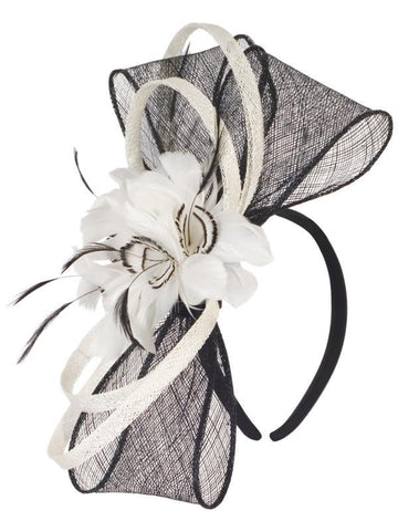 Black/Cream Sinamay Bow and Feather Band Fascinator