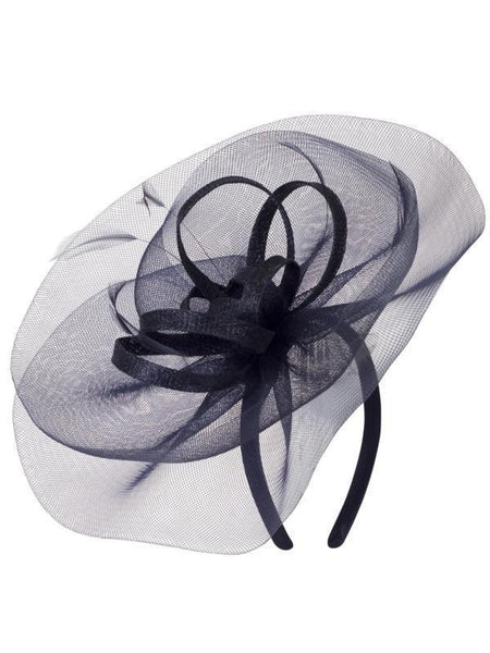 Navy Crin Veil With Sinamay Loops & Feather Bow Fascinator