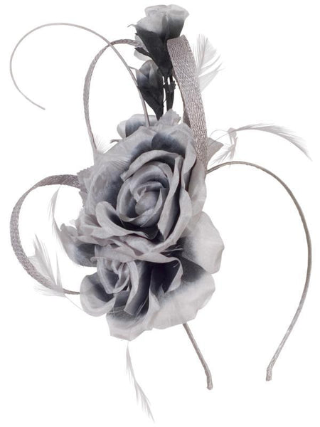 Silver/Charcoal Flower Quill Band Fascinator