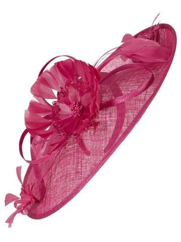 Fuchsia Sinamay Teardrop Disc on Band with Feather Flower Detail Hatinator