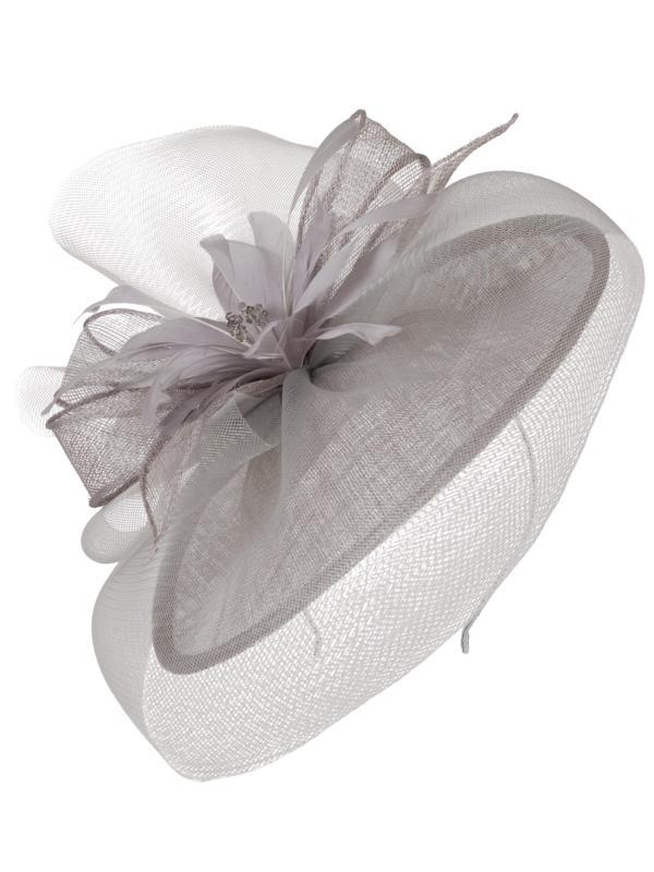 Silver Grey Sinamay Disc Feather and Crystal Detail Hatinator – Chesca edc721a0581