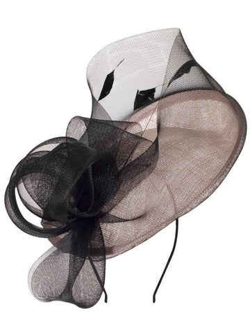 Blush Sinamay Disc with Crin Wrap and Bows Detail Fascinator