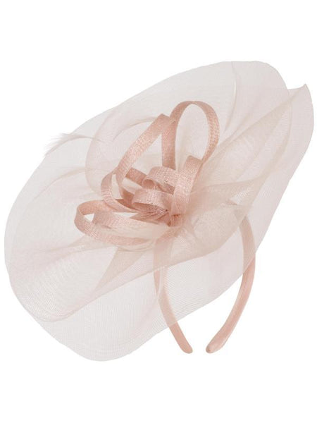 Blush Crin Veil With Sinamay Loops & Feather Bow Fascinator