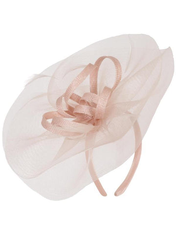 fc1ae9218bb Blush Crin Veil With Sinamay Loops   Feather Bow Fascinator