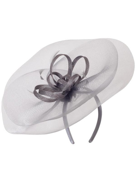 Grey Crin Veil With Sinamay Loops & Feather Bow Fascinator