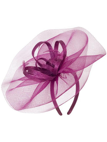 A Fushia Crin Veil With Sinamay Loops & Feather Bow Fascinator