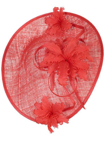 Flame Red Large Hatinator With Frill Flower Trim