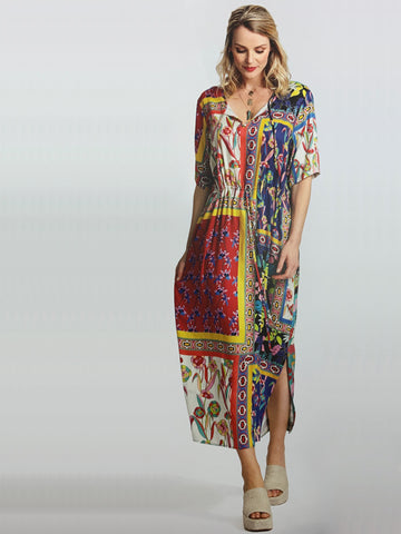 Erfo Multi Floral Panel Dress With Drawstring Detail