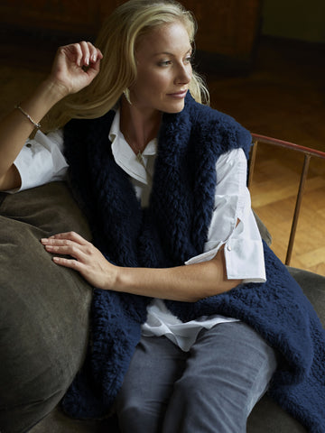 Navy Faux Fur Gilet