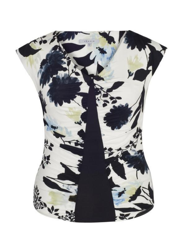 Ivory & Ink Floral Print Camisole with Navy Trim