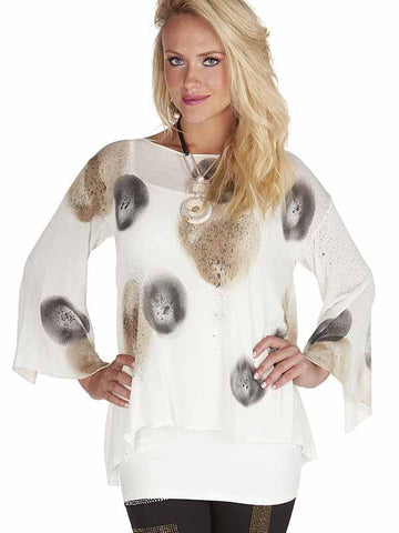 Tricotto Ivory/Grey/Taupe Fine Knit Loose Jumper with Spot Design
