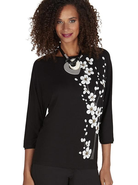 Tricotto Black Blossom Applique Jumper