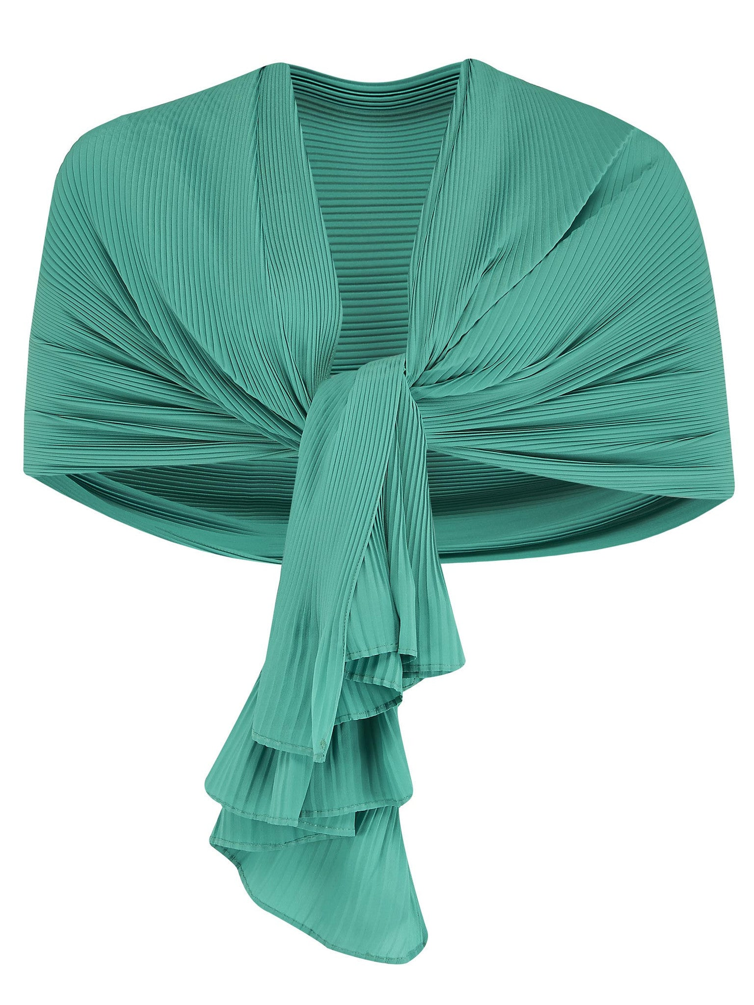 Chesca Direct Jade Crush Pleat Shawl with Plain Hem