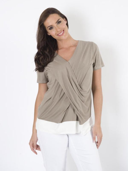 Khaki V-Neck Cross Detail Top With Ivory Trim