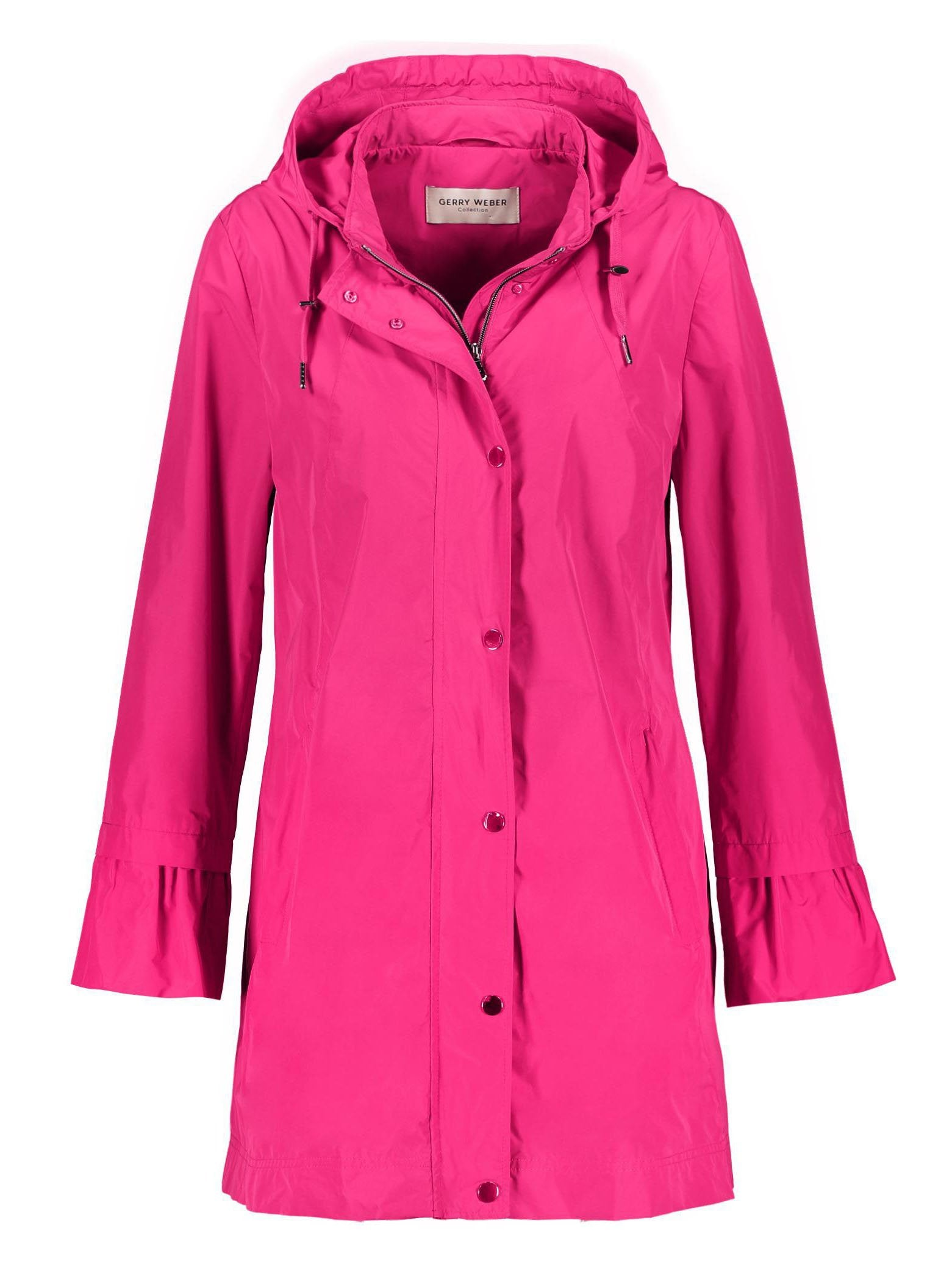 Gerry Weber Bright Pink Rain Jacket with Hood and Frilled Cuff
