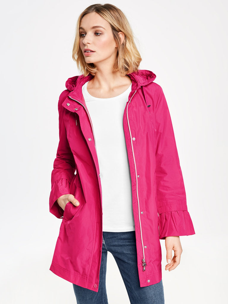 popular stores outlet for sale attractivedesigns Gerry Weber Bright Pink Rain Jacket with Hood and Frilled Cuff