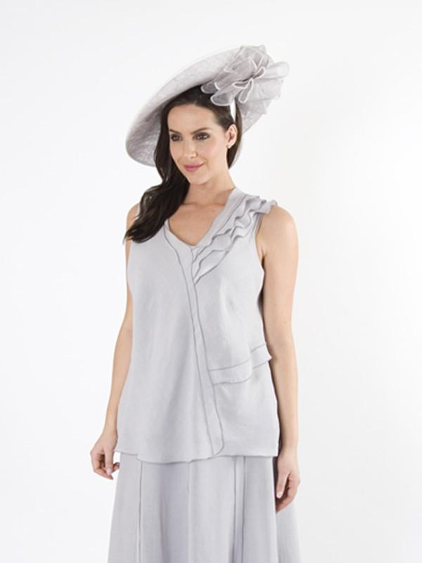 Light Grey Frill Top in Linen