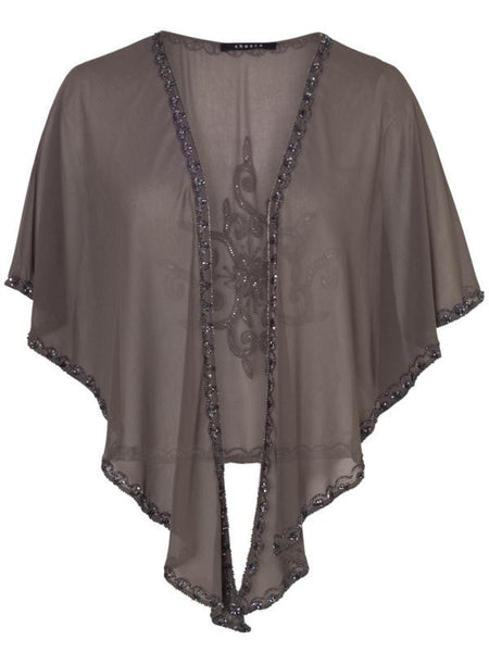 Mink Gunmetal Beaded Shawl 81Y801 alt1