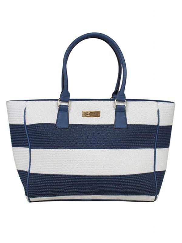 Navy/White Stripe Beach Bag