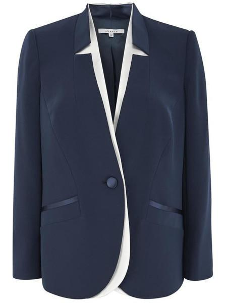 Navy Notch Neck Satin Back Jacket