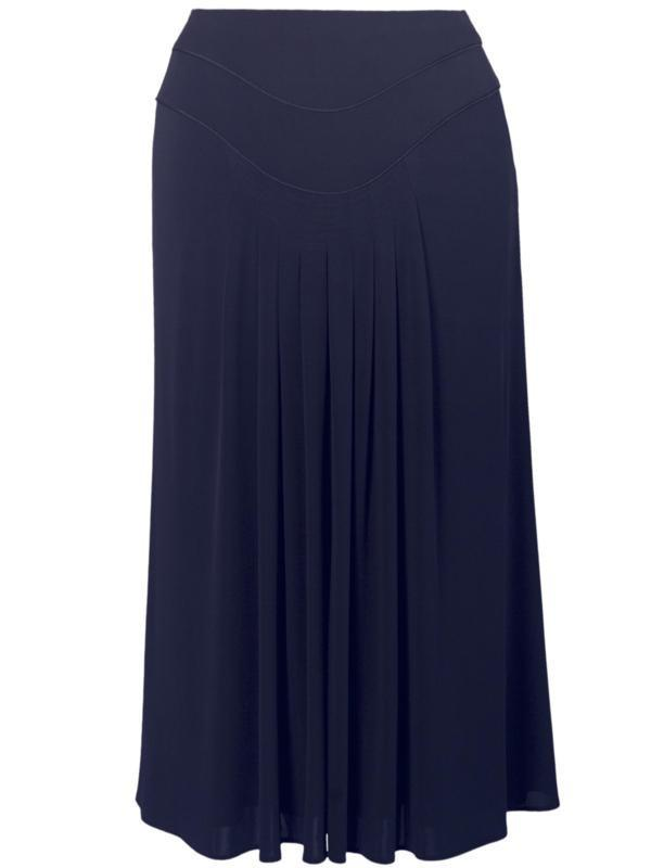 Navy Piping Trim Tuck Detail Jersey Skirt
