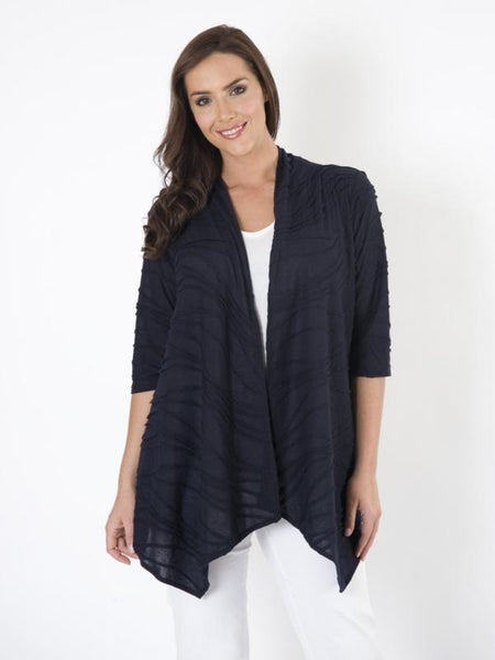 Navy Ripped Waterfall Cardigan